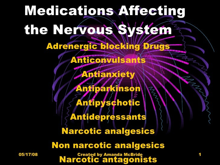 Medications Affecting the Nervous System Adrenergic blocking Drugs Anticonvulsants Antianxiety Antiparkinson Antipyschotic...