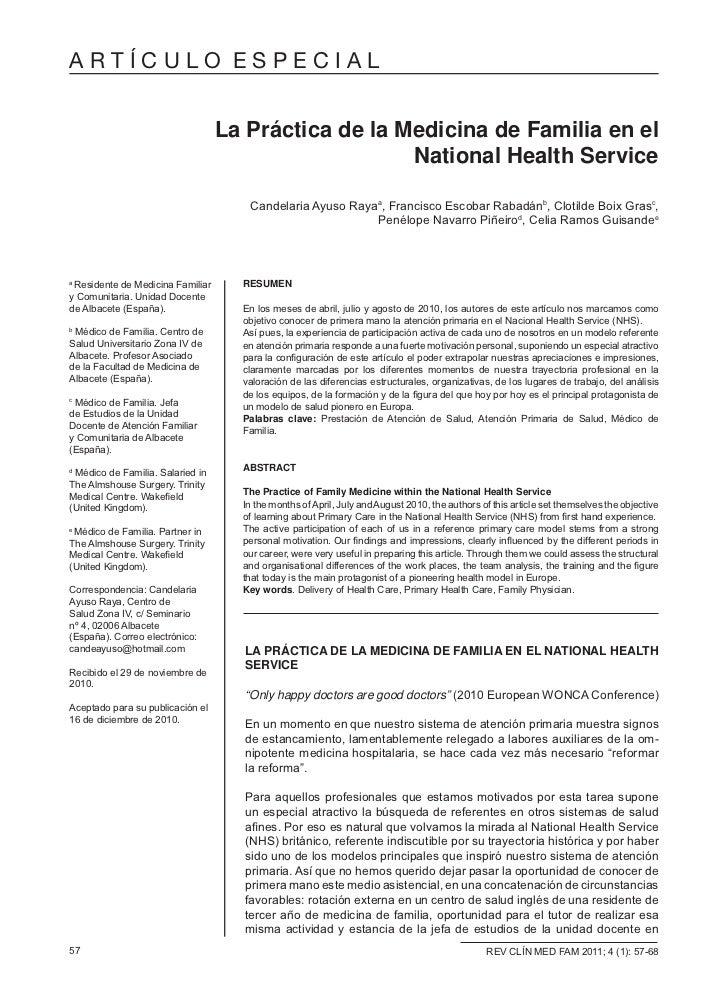 ARTÍCULO ESPECIAL                                  La Práctica de la Medicina de Familia en el                            ...