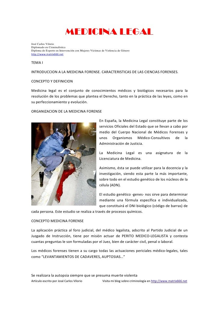 MEDICINA LEGALJosé Carlos VilorioDiplomado en CriminalísticaDiploma de Experto en Intervención con Mujeres Víctimas de Vio...