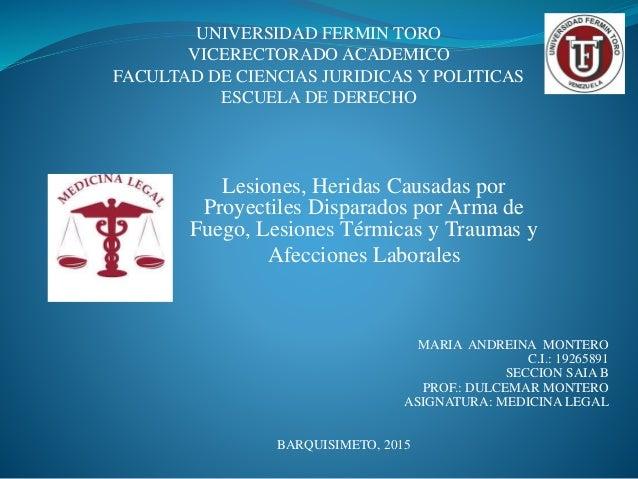 UNIVERSIDAD FERMIN TORO VICERECTORADO ACADEMICO FACULTAD DE CIENCIAS JURIDICAS Y POLITICAS ESCUELA DE DERECHO Lesiones, He...