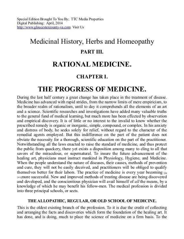 Medicinal History, Herbs and Homeopathy, Free eBook