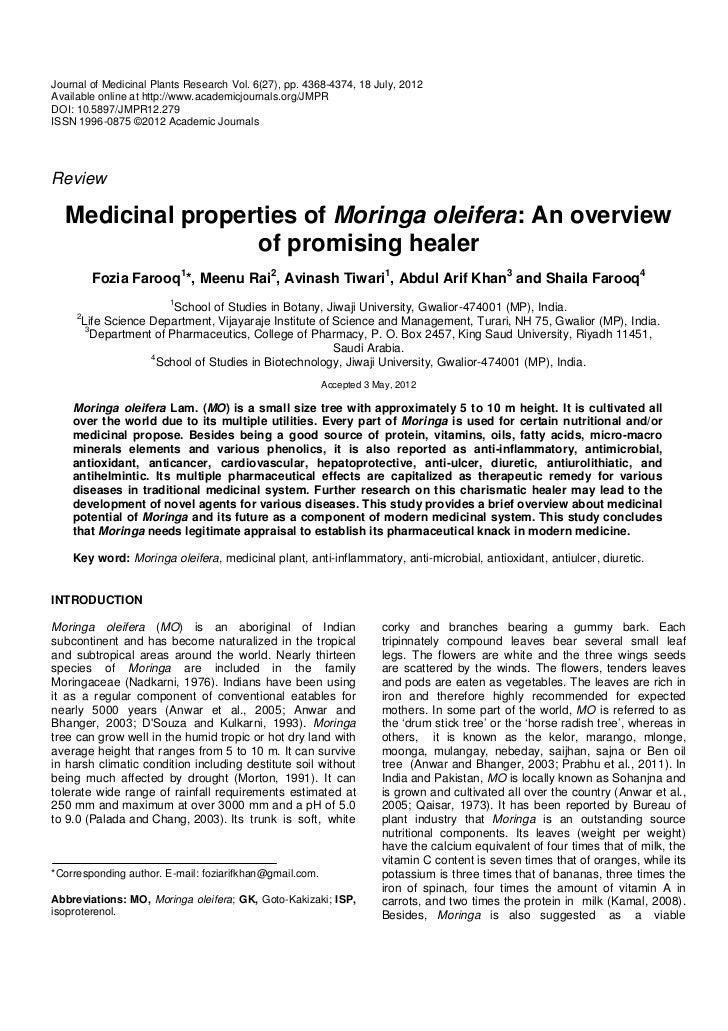 Medicinal properties of moringa oleifera