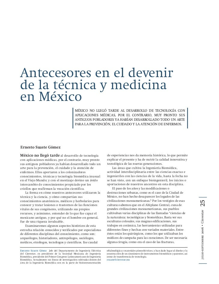 Antecesores en el devenir de la técnica y medicina en México                                                 MÉXICO NO LLE...