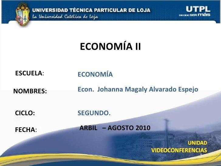 ESCUELA : NOMBRES: ECONOMÍA II FECHA : Econ.  Johanna Magaly Alvarado Espejo ARBIL  – AGOSTO 2010 ECONOMÍA CICLO: SEGUNDO.