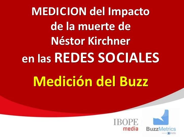 MEDICION del Impacto      de la muerte de      Néstor Kirchneren las REDES SOCIALES Medición del Buzz