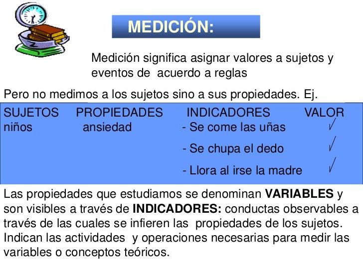 MEDICIÓN:               Medición significa asignar valores a sujetos y               eventos de acuerdo a reglasPero no me...