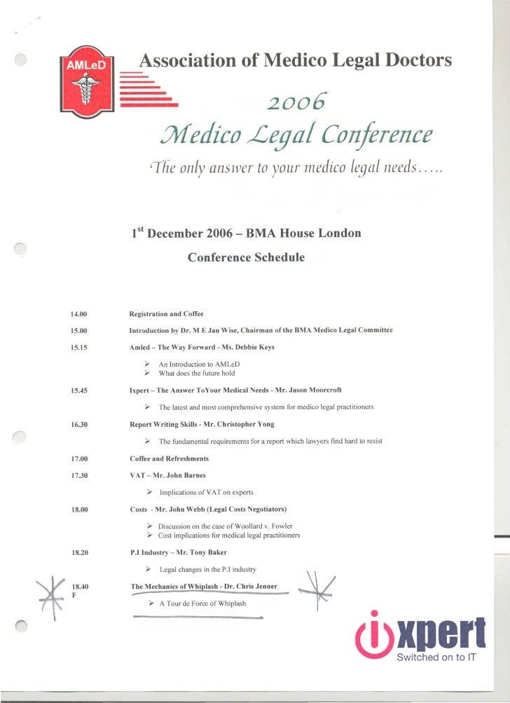 Medico Legal conference 1 Dec 06 Agenda