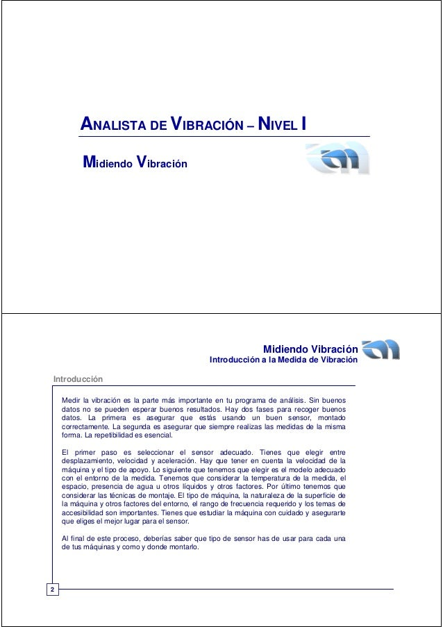 ANALISTA DE VIBRACIÓN – NIVEL I          Midiendo Vibración                                                               ...