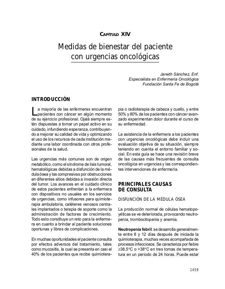 CAPÍTULO XIV: MEDIDAS DE BIENESTAR DEL PACIENTE CON URGENCIAS ONCOLÓGICAS                                        CAPÍTULO ...