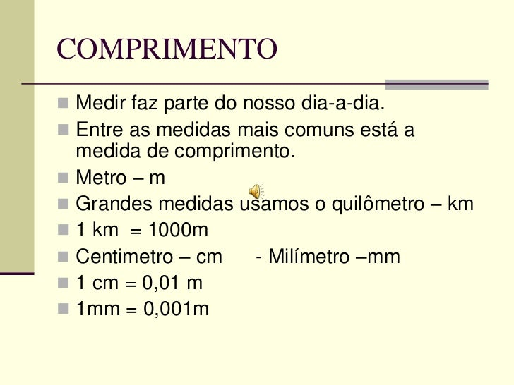 Medidas de comprimento e área