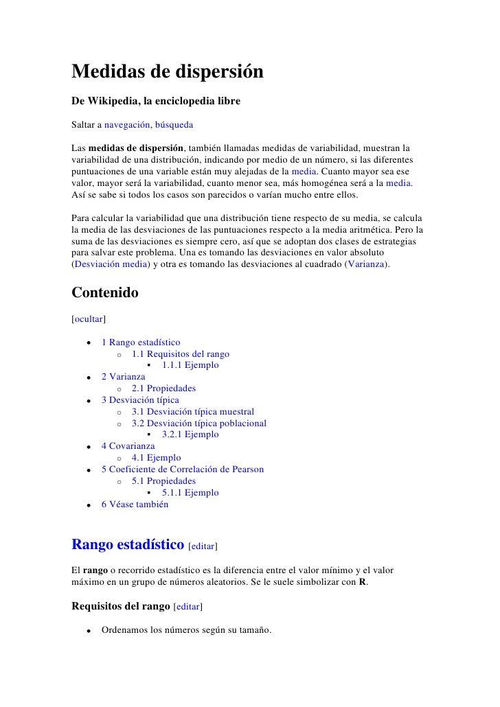 Medidas de dispersión<br />De Wikipedia, la enciclopedia libre<br />Saltar a navegación, búsqueda<br />Las medidas de disp...