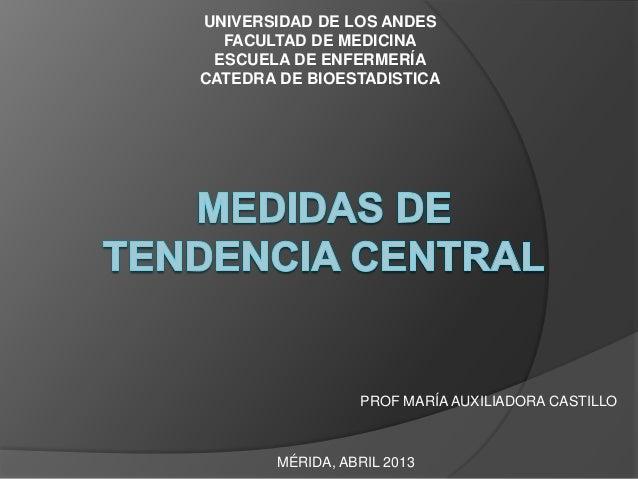 UNIVERSIDAD DE LOS ANDES  FACULTAD DE MEDICINA ESCUELA DE ENFERMERÍACATEDRA DE BIOESTADISTICA                 PROF MARÍA A...