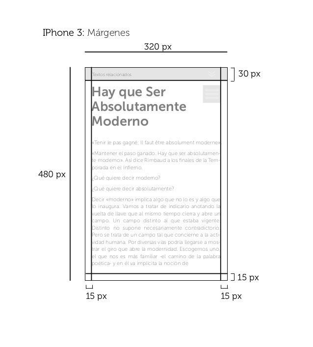 30 px 15 px 15 px15 px IPhone 3: Márgenes 320 px 480 px Textos relacionados Hay que Ser Absolutamente Moderno «Tenir le pa...