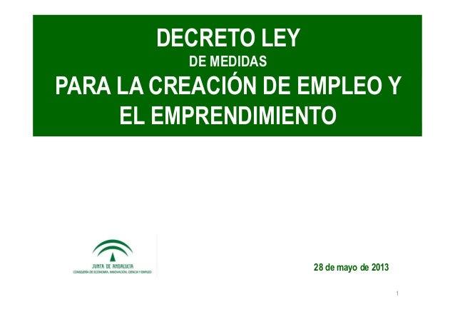 Medidas para la creacion de empleo y emprendimiento 2013