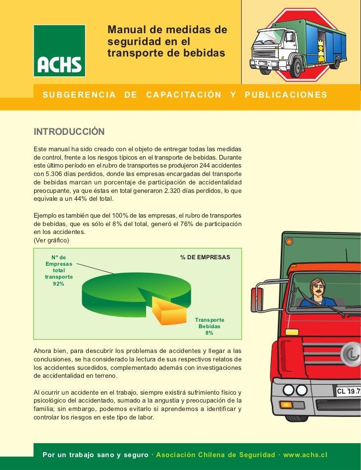 Manual de medidas de                           seguridad en el                           transporte de bebidas   SUBGERENC...