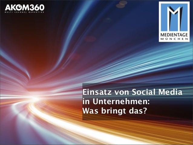 """Medientage München 2013: Seminar """"Social Media in Unternehmen: Was bringt`s"""""""