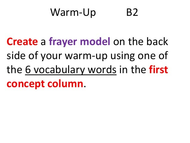 Warm-Up  B2  Create a frayer model on the back side of your warm-up using one of the 6 vocabulary words in the first conce...