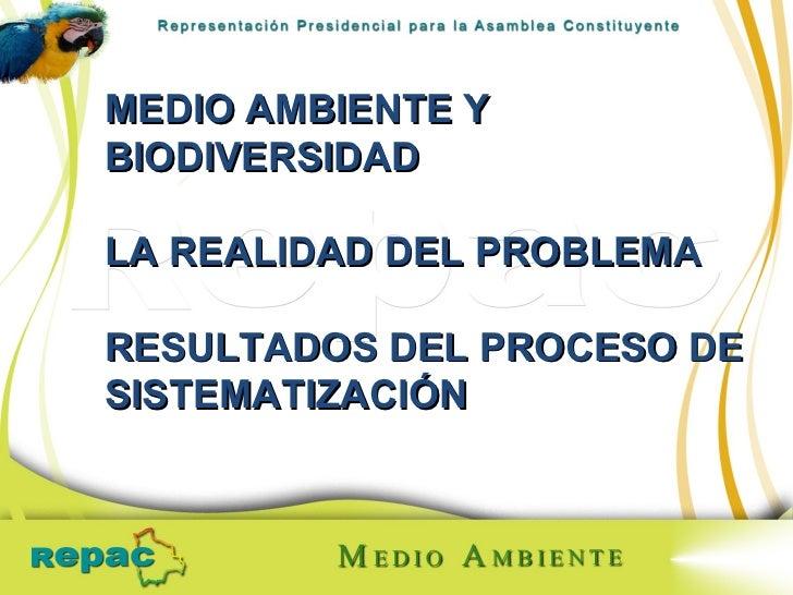 MEDIO AMBIENTE Y BIODIVERSIDAD LA REALIDAD DEL PROBLEMA RESULTADOS DEL PROCESO DE SISTEMATIZACIÓN