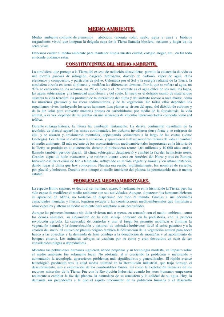 MEDIO AMBIENTE.<br />Medio ambienteconjuntodeelementos  abióticos (energía solar, suelo, agua y aire) y bióticos (organ...