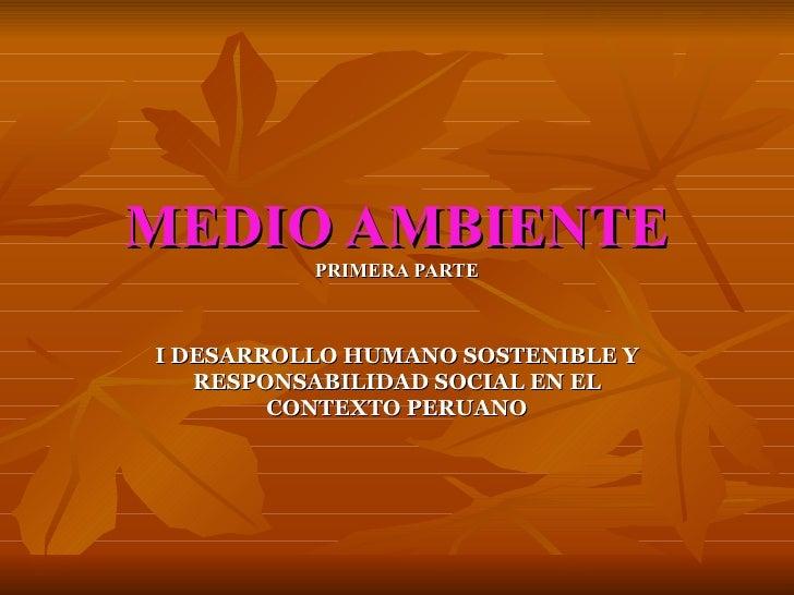 MEDIO AMBIENTE PRIMERA PARTE I DESARROLLO HUMANO SOSTENIBLE Y RESPONSABILIDAD SOCIAL EN EL CONTEXTO PERUANO