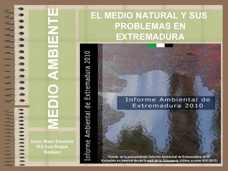 El medio natural y sus problemas en Extremadura