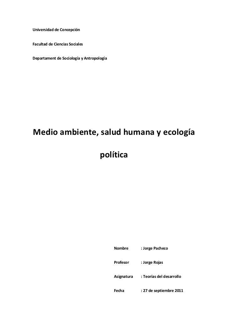 Medio ambiente, salud y ecología política