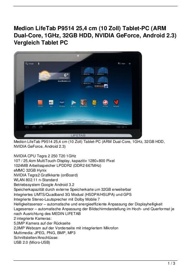 Medion LifeTab P9514 25,4 cm (10 Zoll) Tablet-PC (ARMDual-Core, 1GHz, 32GB HDD, NVIDIA GeForce, Android 2.3)Vergleich Tabl...
