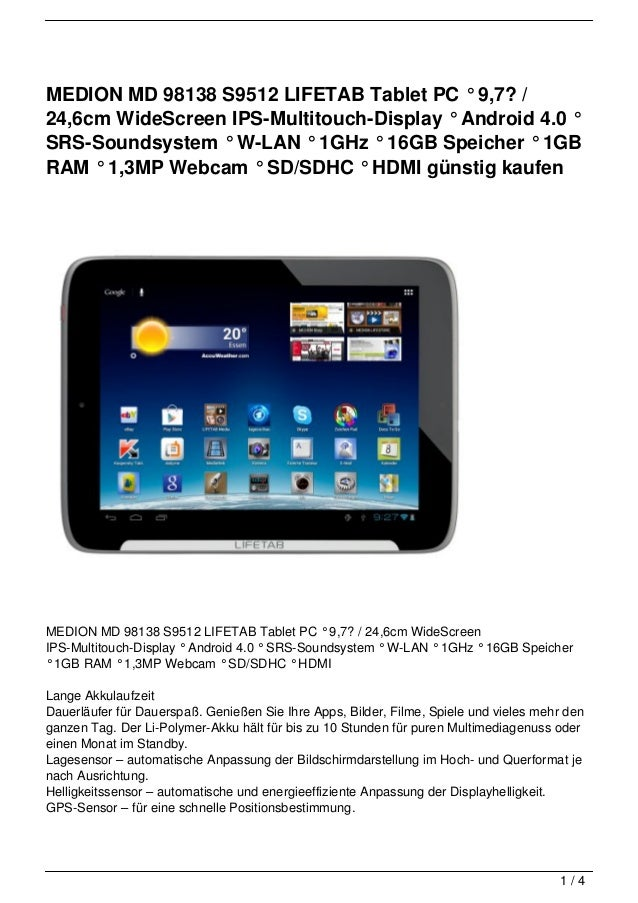 MEDION MD 98138 S9512 LIFETAB Tablet PC ° 9,7? /24,6cm WideScreen IPS-Multitouch-Display ° Android 4.0 °SRS-Soundsystem ° ...