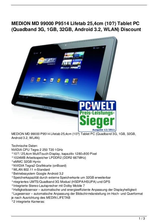 MEDION MD 99000 P9514 Lifetab 25,4cm (10?) Tablet PC(Quadband 3G, 1GB, 32GB, Android 3.2, WLAN) DiscountMEDION MD 99000 P9...