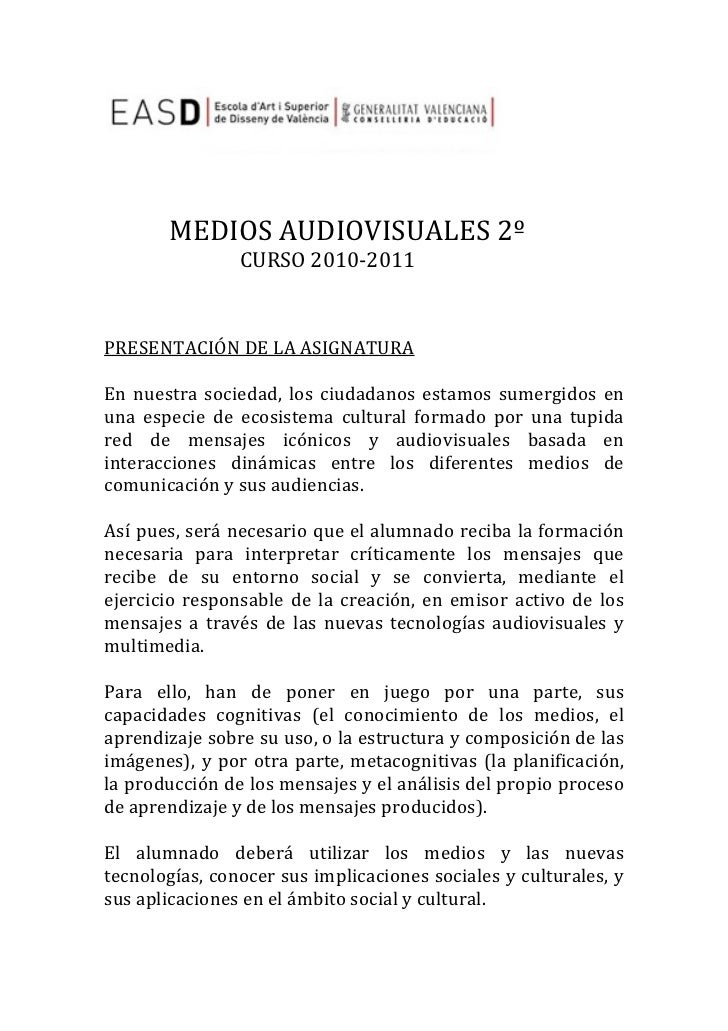 MEDIOS AUDIOVISUALES 2º             ...