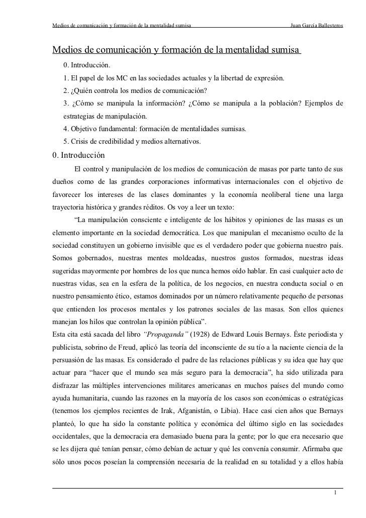 Medios de comunicación y formación de la mentalidad sumisa                         Juan García BallesterosMedios de comuni...