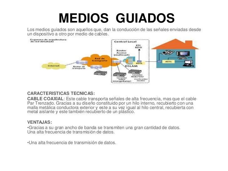 MEDIOS GUIADOSLos medios guiados son aquellos que, dan la conducción de las señales enviadas desdeun dispositivo a otro po...