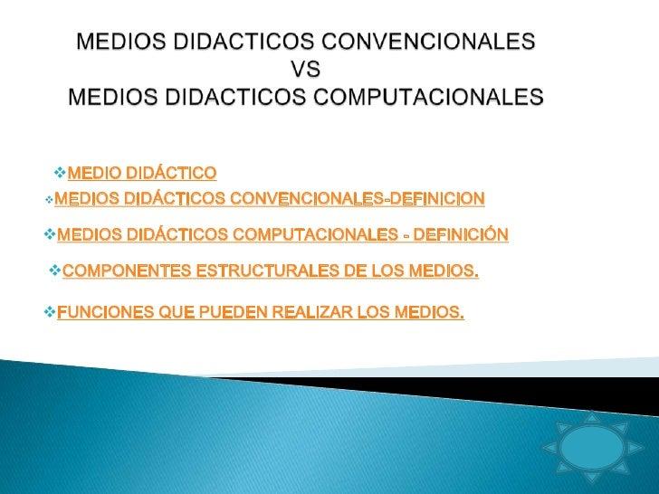 MEDIO DIDÁCTICO MEDIOS   DIDÁCTICOS CONVENCIONALES-DEFINICION  MEDIOS DIDÁCTICOS COMPUTACIONALES - DEFINICIÓN  COMPONE...