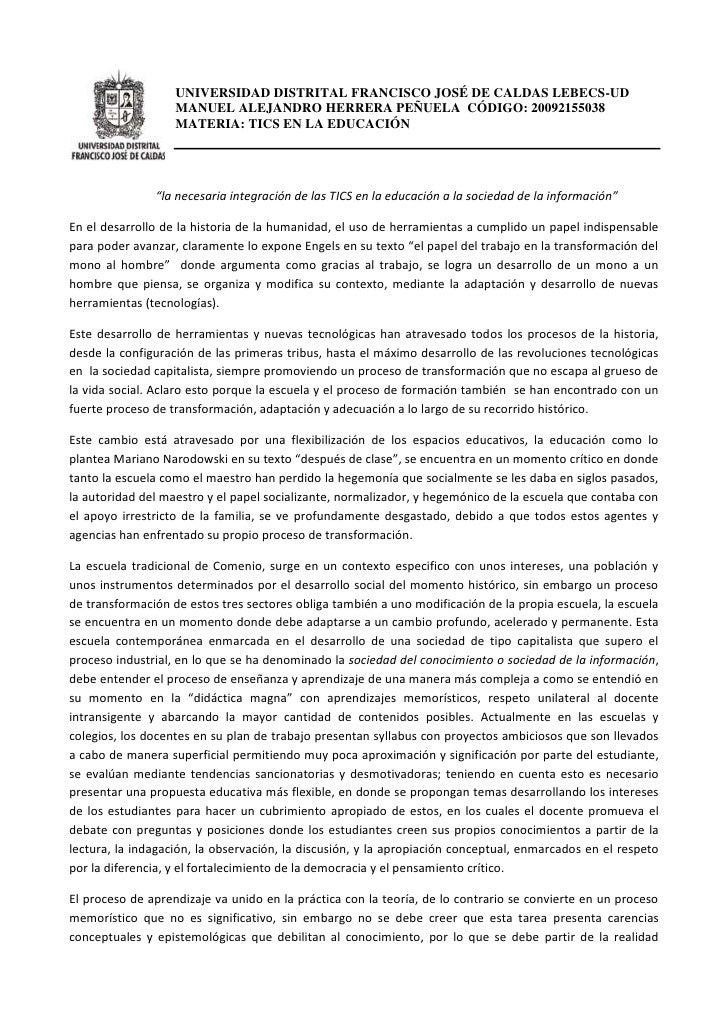 UNIVERSIDAD DISTRITAL FRANCISCO JOSÉ DE CALDAS LEBECS-UD                   MANUEL ALEJANDRO HERRERA PEÑUELA CÓDIGO: 200921...