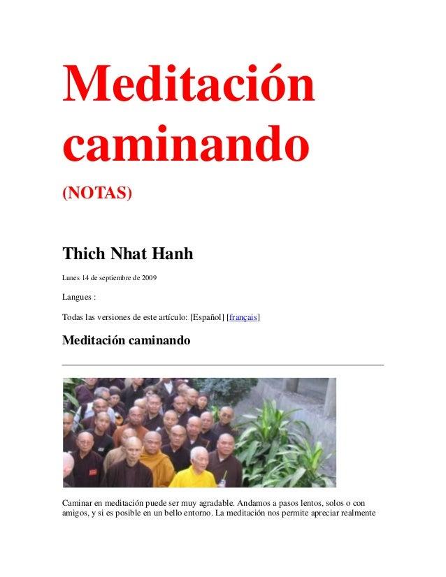 Meditacióncaminando(NOTAS)Thich Nhat HanhLunes 14 de septiembre de 2009Langues :Todas las versiones de este artículo: [Esp...