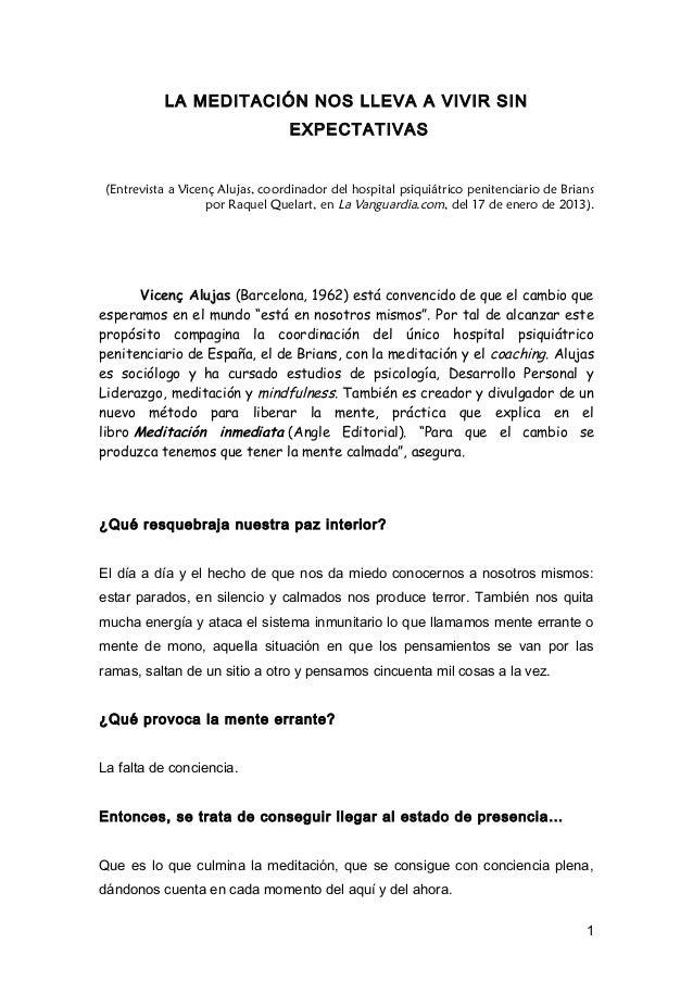 LA MEDITACIÓN NOS LLEVA A VIVIR SIN                                  EXPECTATIVAS (Entrevista a Vicenç Alujas, coordinador...