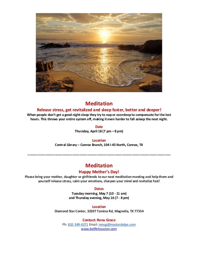 Meditation       Release stress, get revitalized and sleep faster, better and deeper! When people don't get a good night s...