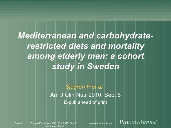 Mediterranean Vs Carbohydrate Restricted Vs Healthy Who Diet