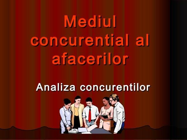MediulMediul concurential alconcurential al afacerilorafacerilor Analiza concurentilorAnaliza concurentilor