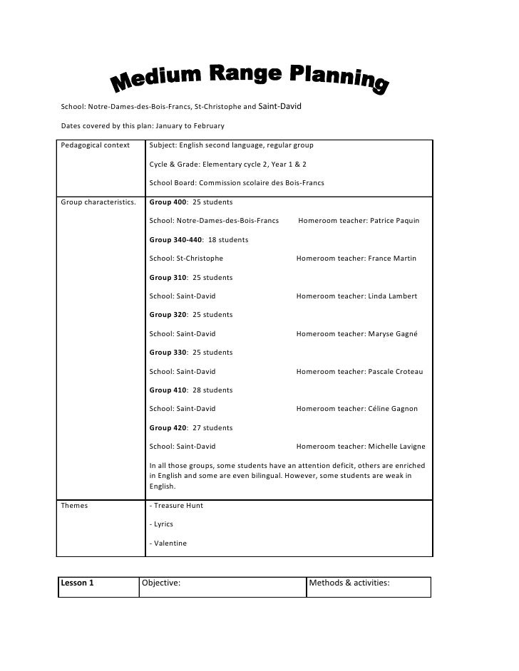 School: Notre-Dames-des-Bois-Francs, St-Christophe and Saint-David  Dates covered by this plan: January to February  Pedag...