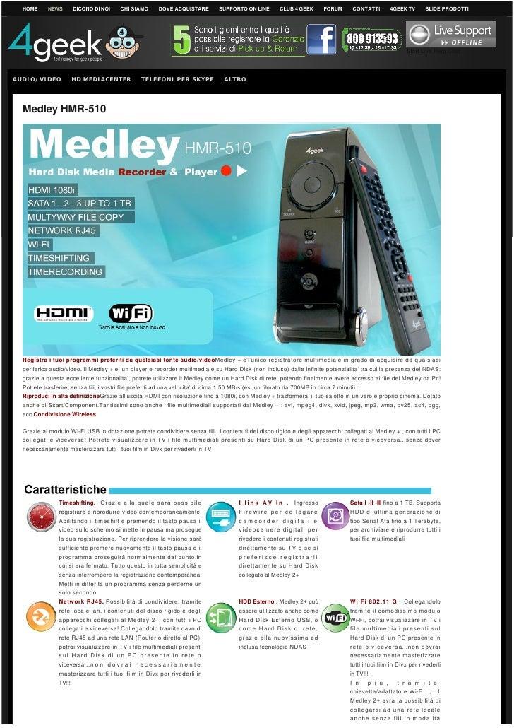 MEDLEY HMR-510 HDD Media Recorder Multimediale 4GEEK
