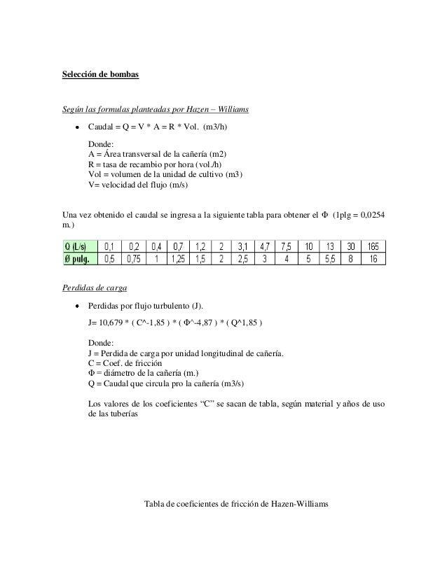 Selección de bombasSegún las formulas planteadas por Hazen – Williams       Caudal = Q = V * A = R * Vol. (m3/h)       Don...