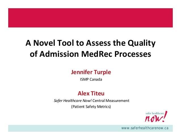 Webinar: Med Rec Quality Audit Tool