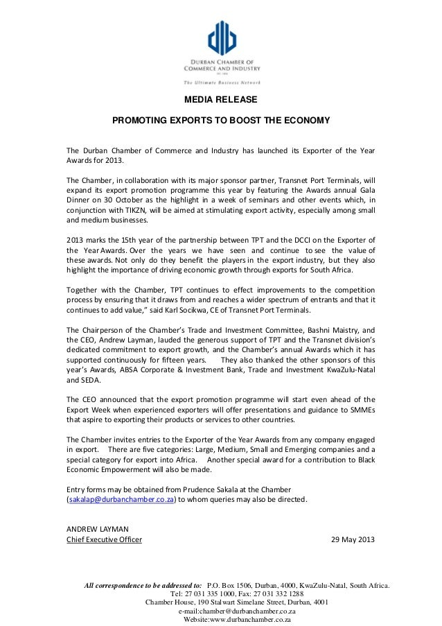 MEDIA RELEASE PROMOTING EXPORTS TO BOOST THE ECONOMY