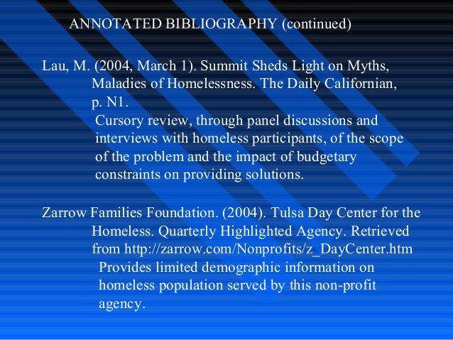 Preliminary annotated bibliography