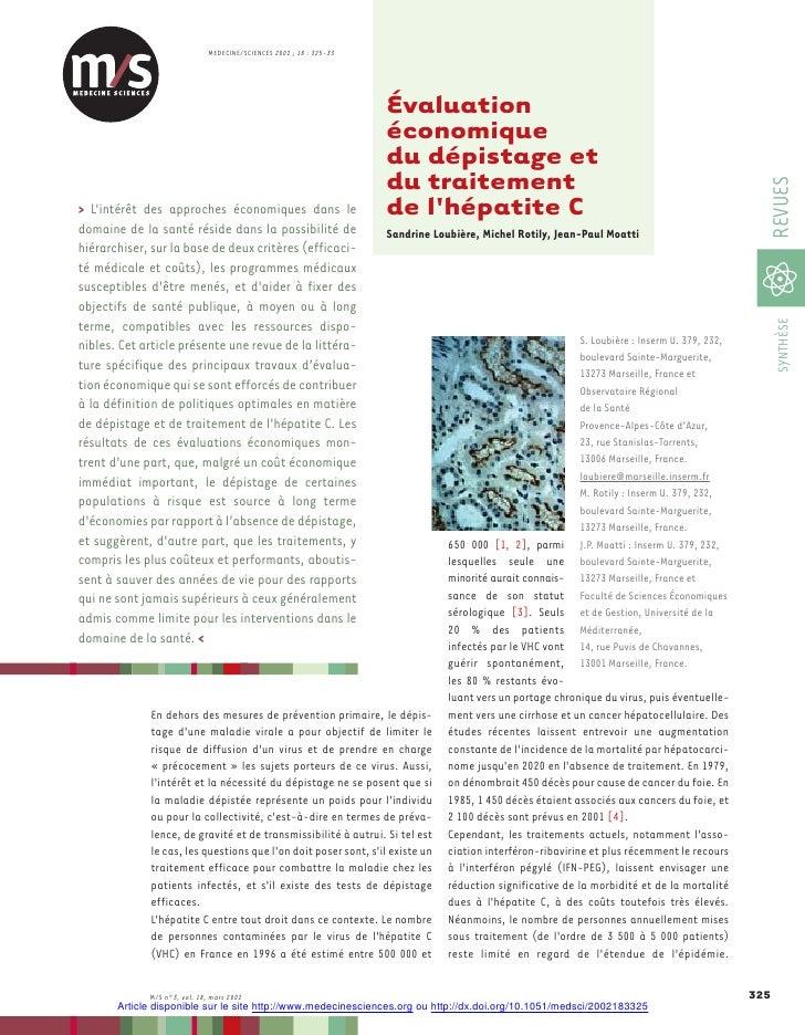 MEDECINE/SCIENCES 2002 ; 18 : 325-33                                                                     Évaluation       ...