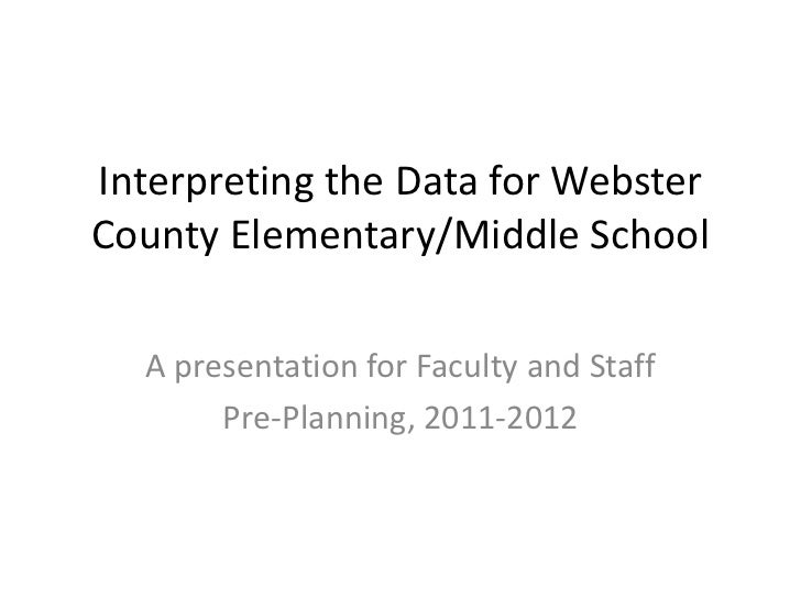 Interpreting the Data for Webster County Elementary/Middle School<br />A presentation for Faculty and Staff<br />Pre-Plann...