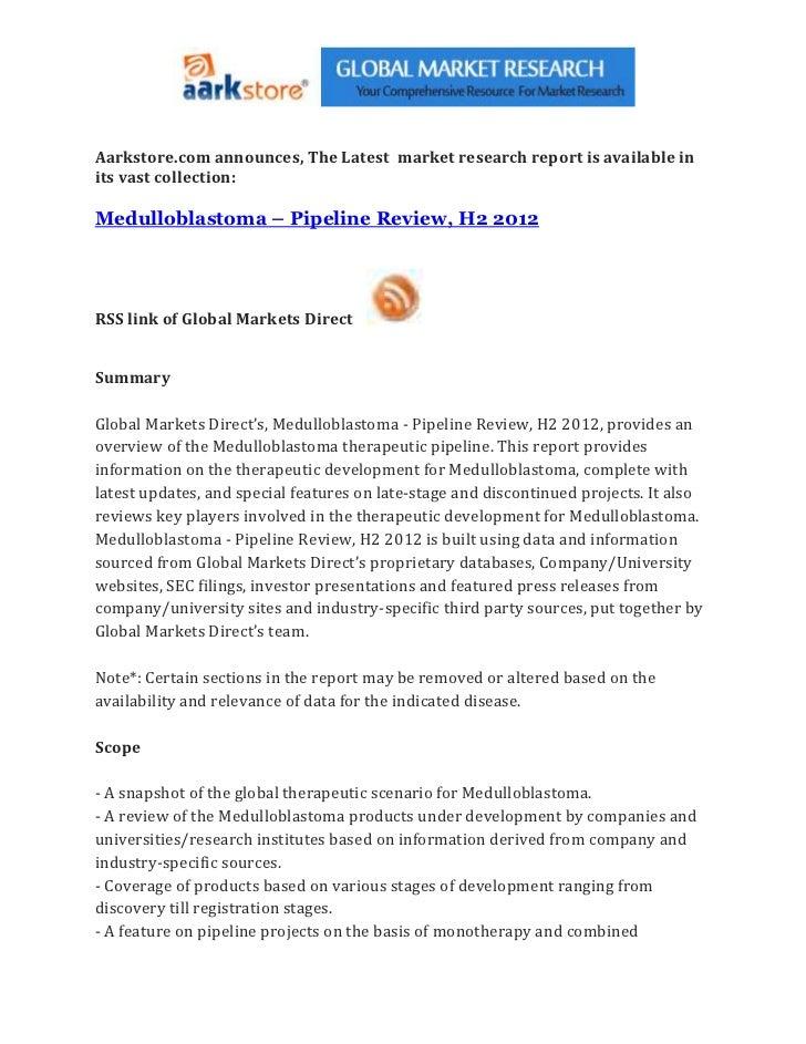 Medulloblastoma – pipeline review, h2 2012