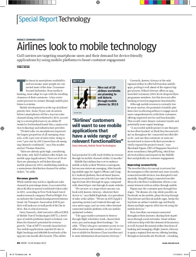 Special Report Technology       MOBILE COMMUNICATIONS       Airlines look to mobile technology       Gulf carriers are tar...