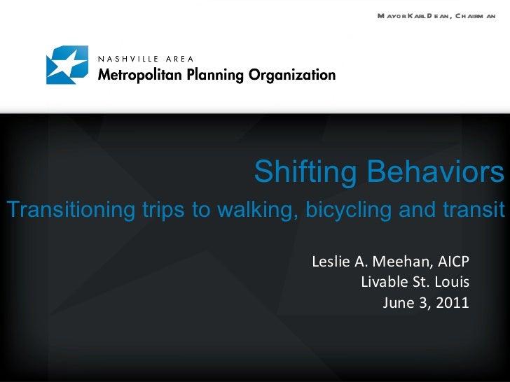 Shifting Behaviors Transitioning trips to walking, bicycling and transit   <ul><li>Leslie A. Meehan, AICP </li></ul><ul><l...